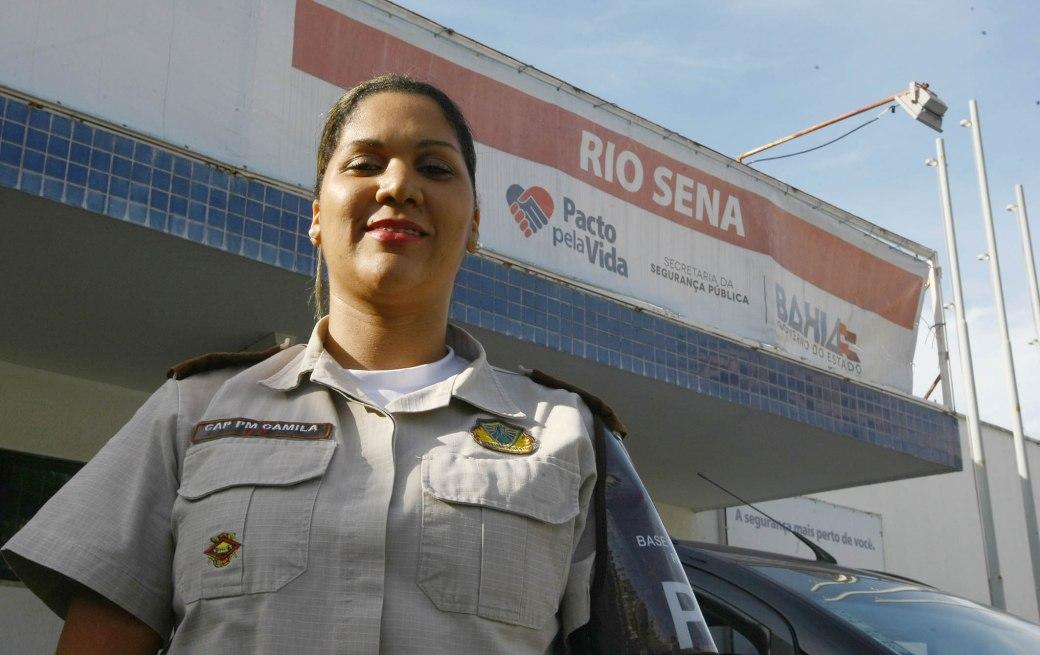 Capitã PM Camila Soledade - comandante da BCS de Rio Sena - Foto Carol Garcia GOVBA